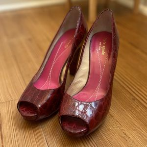 Kate Spade red leather heels SIZE 9